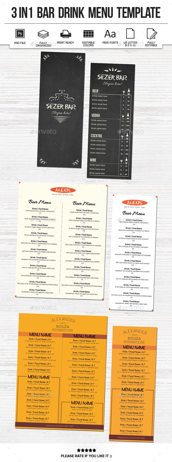GraphicRiver 3 In 1 Bar Drink Menu Template 11253503