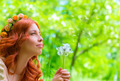 Happy woman with dandelions - PhotoDune Item for Sale