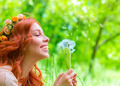 Cheerful female with dandelions - PhotoDune Item for Sale