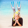 Happy diver on the beach - PhotoDune Item for Sale