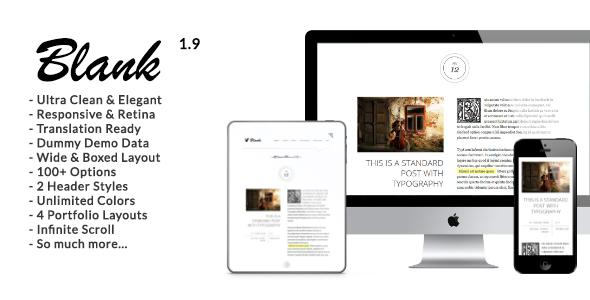 Blank - Elegant and Minimalist Wordpress Blog - Personal Blog / Magazine