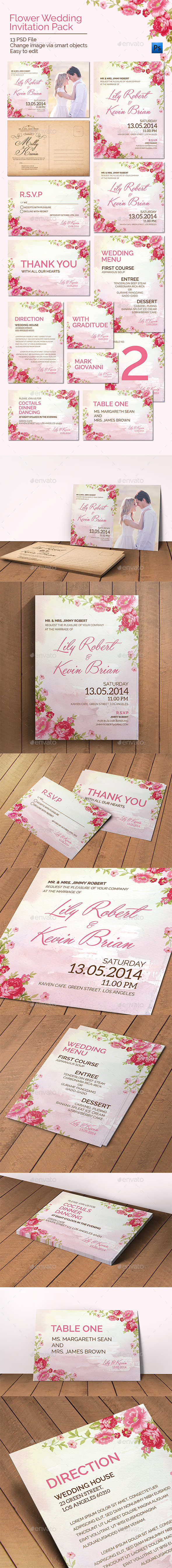 GraphicRiver Flower Wedding Invitation Pack 11254563
