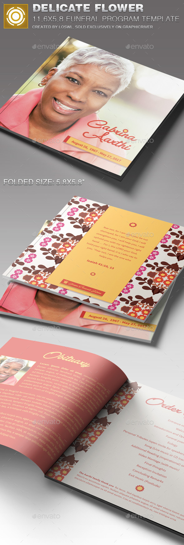 GraphicRiver Delicate Flower Funeral Program Template 11254957