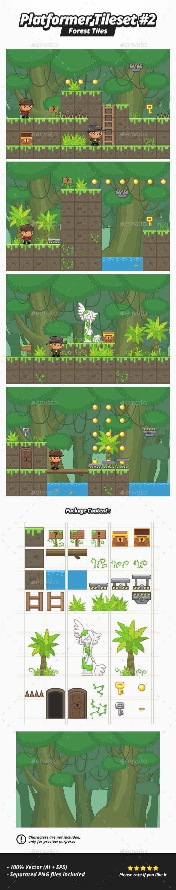 GraphicRiver Platformer Tileset #2 Forest 11254967