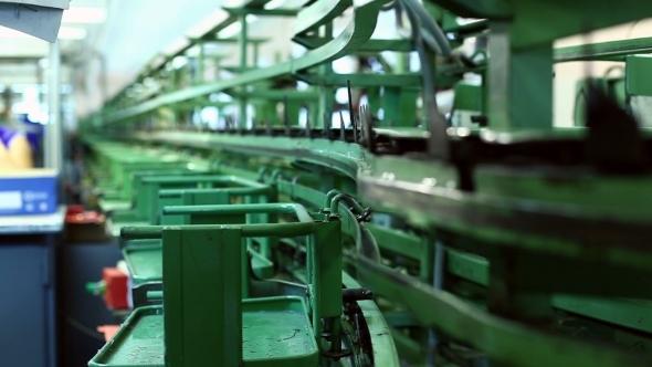 Conveyor In Workshop Production Of Footwear