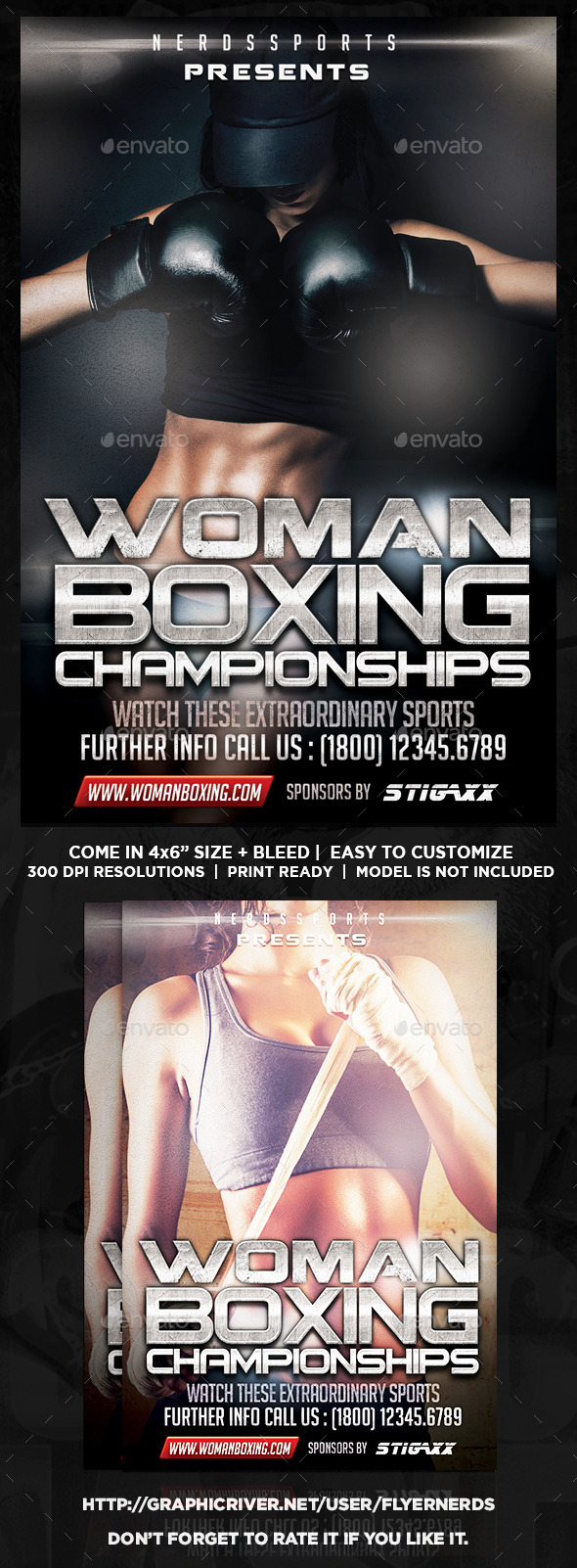 GraphicRiver Woman Boxing Championships Sports Flyer 11255518