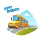 Vector Illustration Of School Bus On Background - GraphicRiver Item for Sale