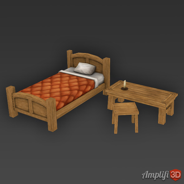 3DOcean Low Poly Cartoon Bed Set 11255605
