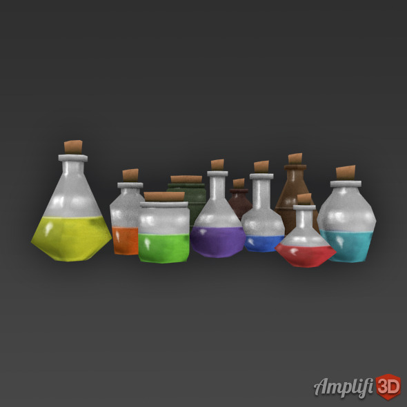 3DOcean Low Poly Cartoon Potion Bottles 11255680