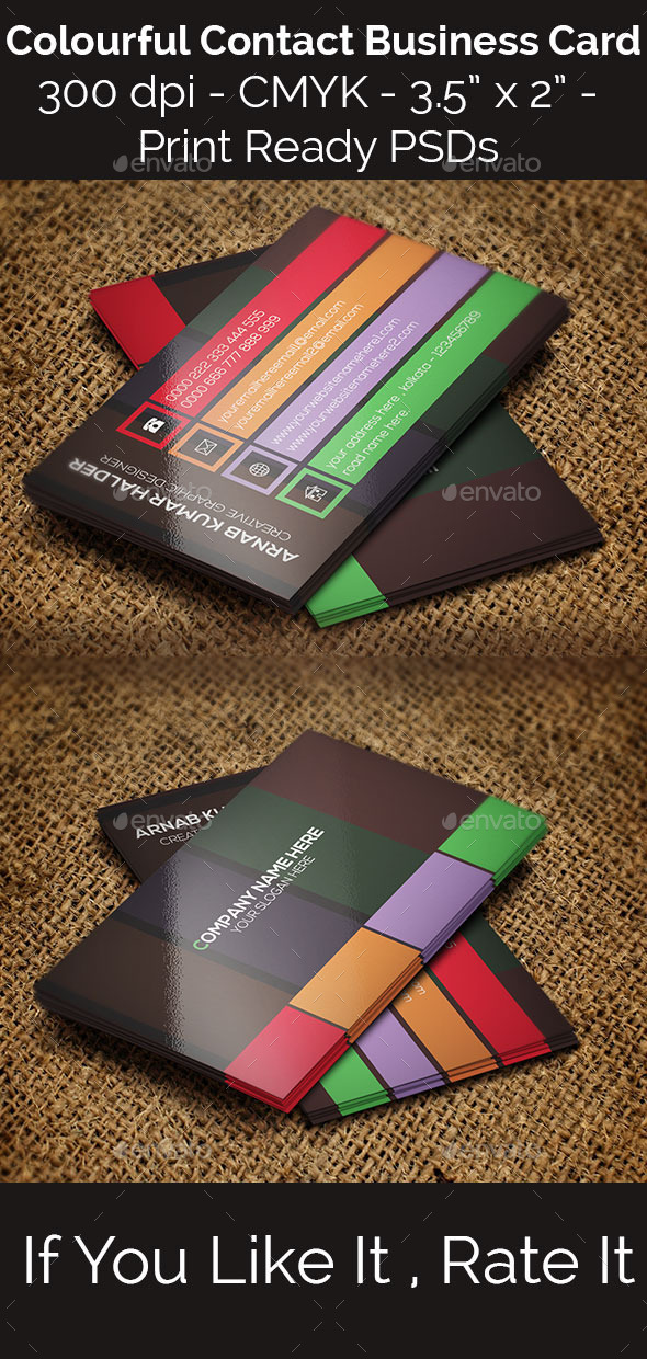 GraphicRiver Colourful Contact Business Card 11257120