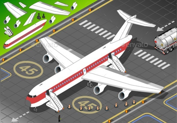 GraphicRiver Isometric White Airplane Landed in Front View 11257275