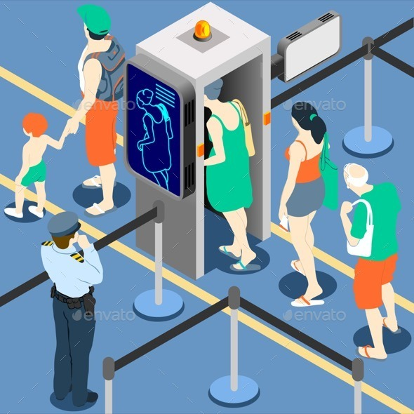 GraphicRiver Isometric Queue at Security Checkpoint 11257289