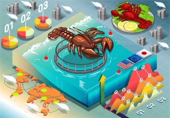 GraphicRiver Isometric Infographic of Lobster Breeding 11257313