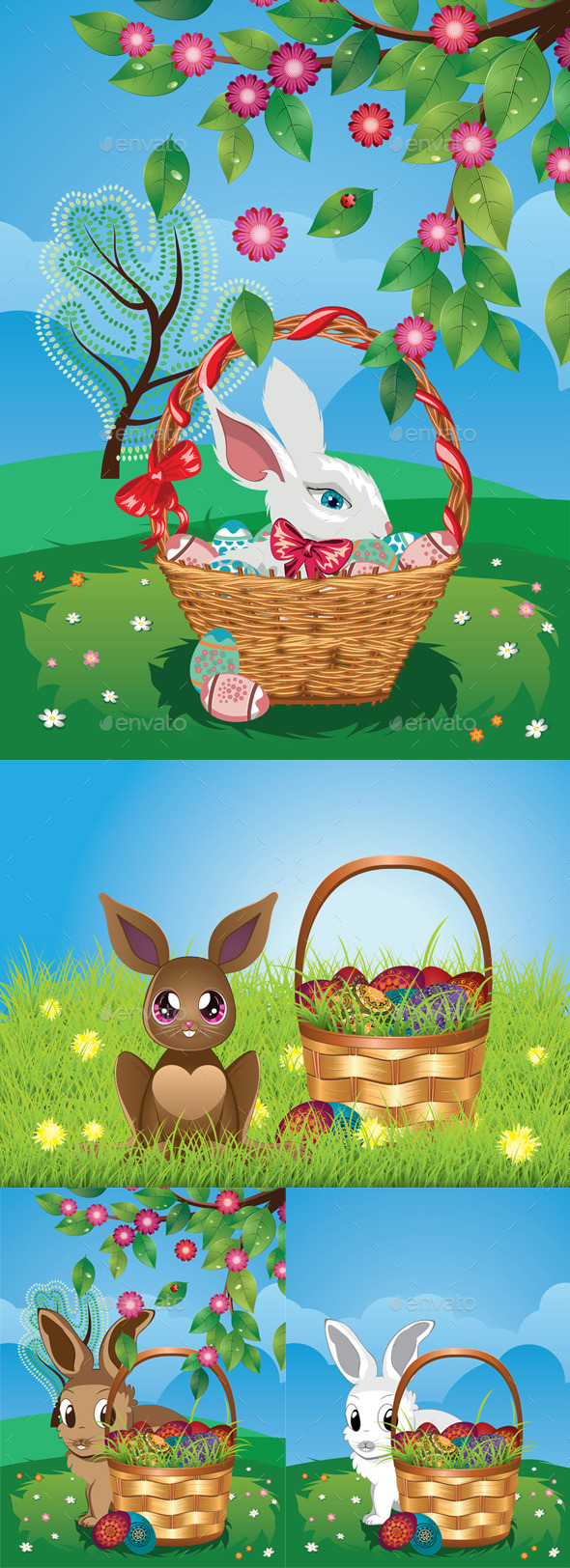 GraphicRiver Easter Bunny with Eggs in the Basket 11257324