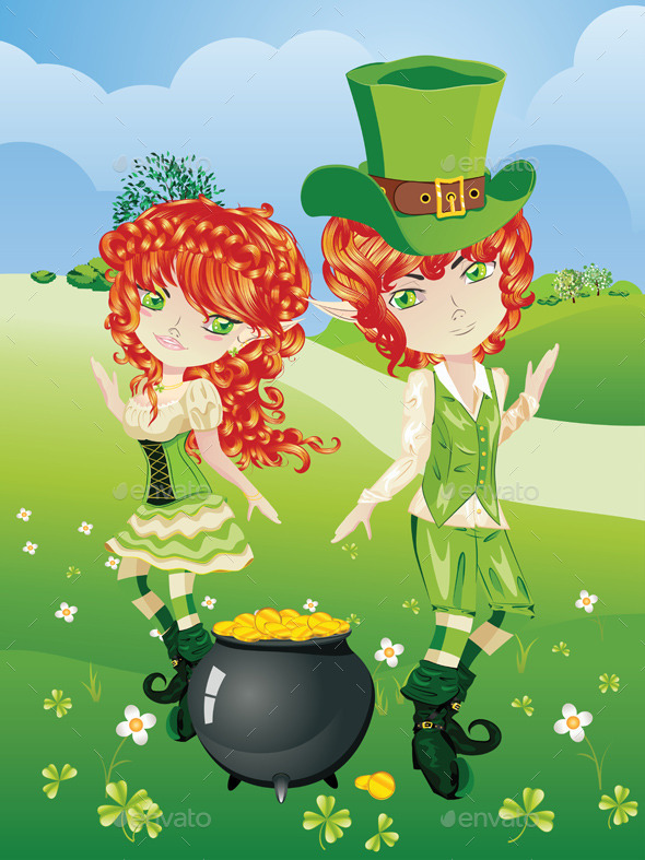 GraphicRiver Leprechaun Boy and Girl 11257373