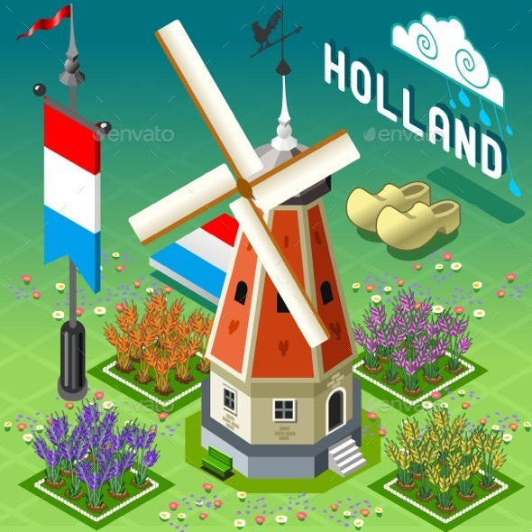 GraphicRiver Isometric Holland Barn Windmill Building 11257416