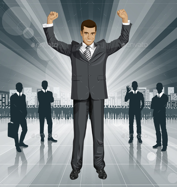 GraphicRiver Vector Businessman With Hands Up 11257476