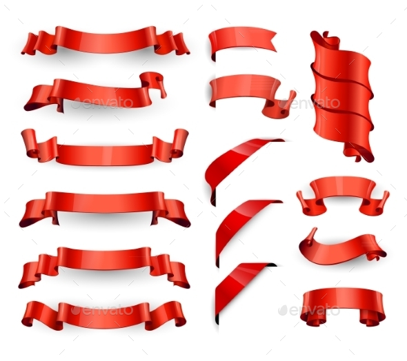 GraphicRiver Realistic Red Glossy Vector Ribbons Large Set 11257491
