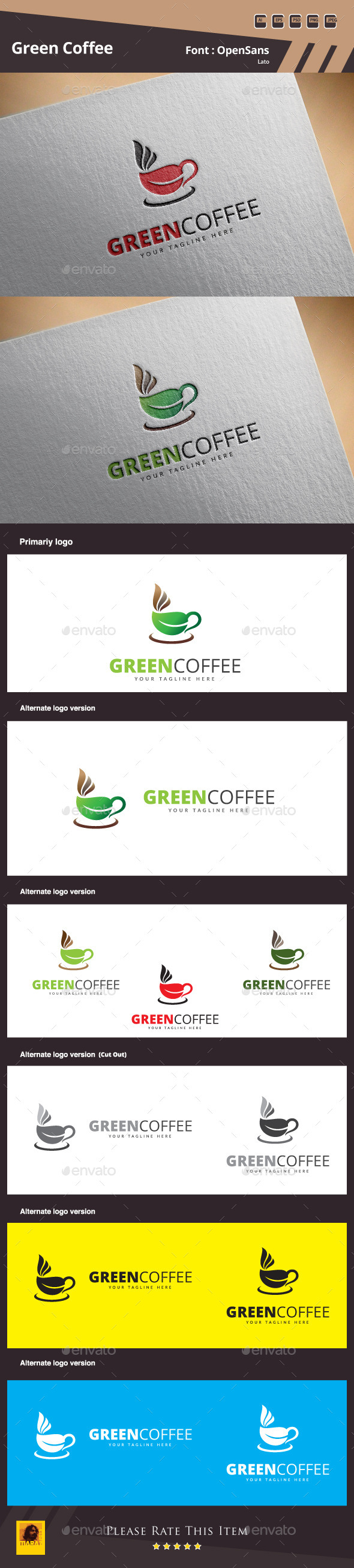 GraphicRiver Green Coffee Logo Template 11257578