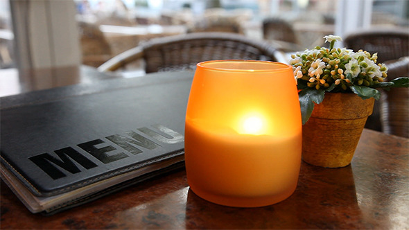 Cafe Table With Candle