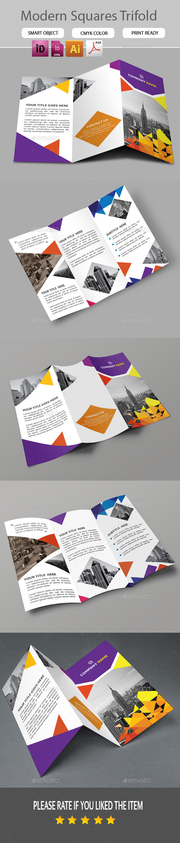 GraphicRiver Modern Squares Trifold 11258533