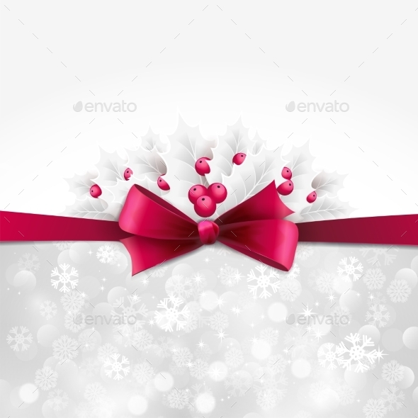 GraphicRiver Vector Christmas Background With Bow And Holly 11258536