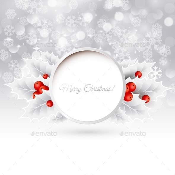 GraphicRiver Vector Christmas Background With Holly 11258543