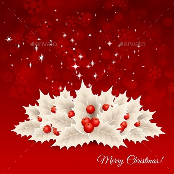 GraphicRiver Vector Christmas Background With Bow And Holly 11258551