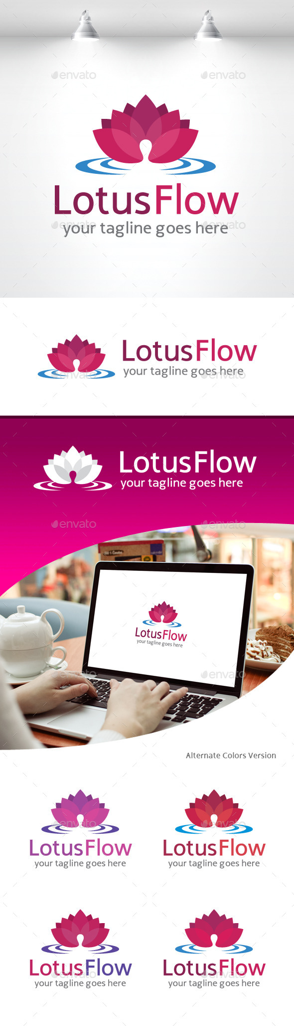 GraphicRiver Lotus Flow Logo Spa Yoga and Resort 11258871