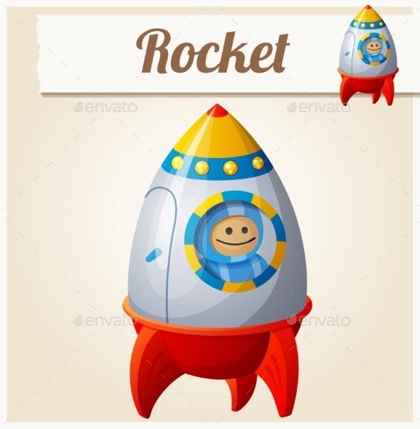 Toy Rocket. Cartoon Vector Illustration.