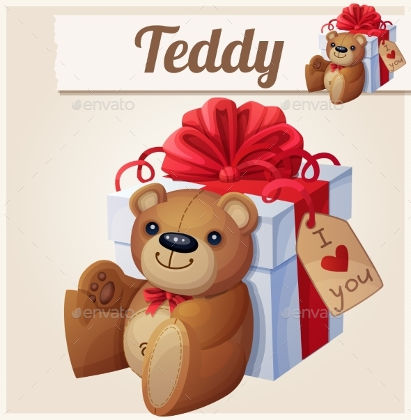 GraphicRiver Teddy Bear And The Big Gift Box With Red Bow 11259398