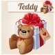 Teddy Bear And The Big Gift Box With Red Bow - GraphicRiver Item for Sale