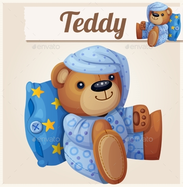 GraphicRiver Teddy Bear In Pajamas With Pillow Cartoon Vector 11259408