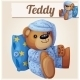 Teddy Bear In Pajamas With Pillow. Cartoon Vector - GraphicRiver Item for Sale