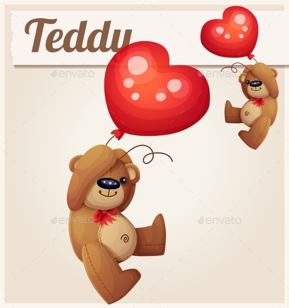 GraphicRiver Teddy Bear With Heart Balloon Cartoon Vector 11259409