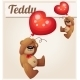 Teddy Bear With Heart Balloon. Cartoon Vector - GraphicRiver Item for Sale