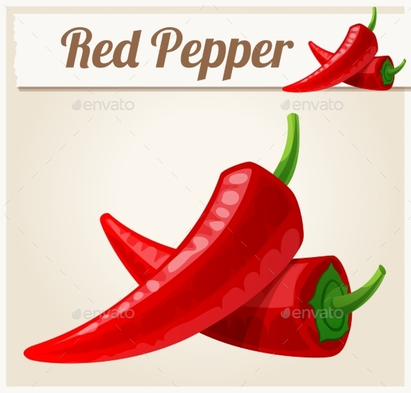GraphicRiver Red Spicy Peppers Detailed Vector Icon 11259414