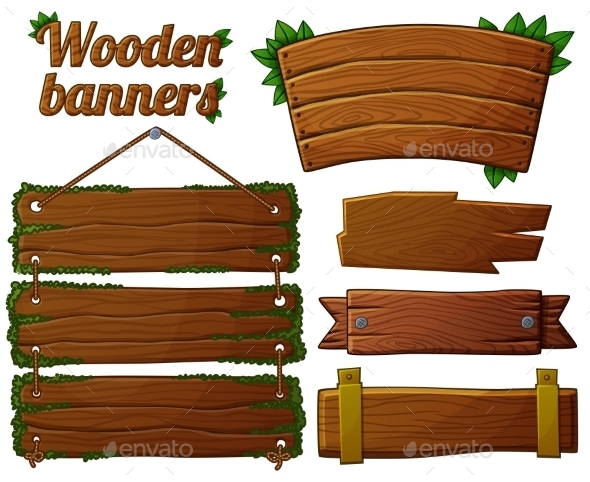 GraphicRiver Set Of Dark Wooden Banners 2 Cartoon Vector 11259416