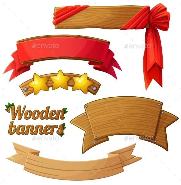GraphicRiver Set Of Light Wooden Banners 2 Cartoon Vector 11259422