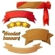Set Of Light Wooden Banners 2. Cartoon Vector - GraphicRiver Item for Sale