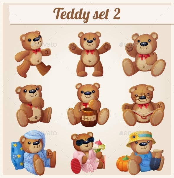 GraphicRiver Teddy Bears Set Part 2 Cartoon Vector 11259426