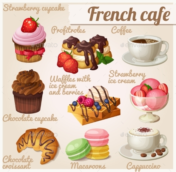 GraphicRiver Set Of Food Icons French Cafe Chocolate Cupcake 11259429