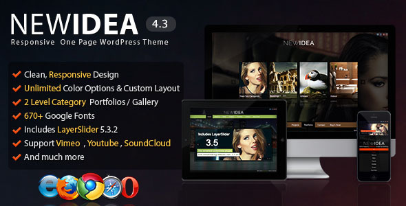 New Idea - Responsive One Page Wordpress Theme - Portfolio Creative