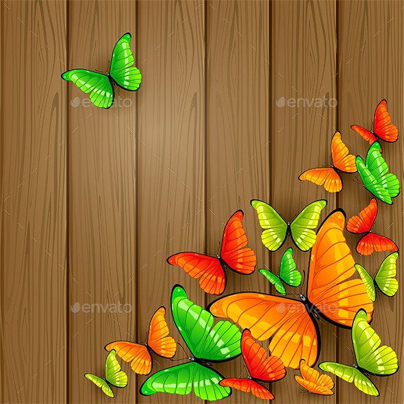 GraphicRiver Colorful Butterflies on Wooden Background 11259600