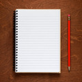 Notepad and pencil on wooden background - PhotoDune Item for Sale