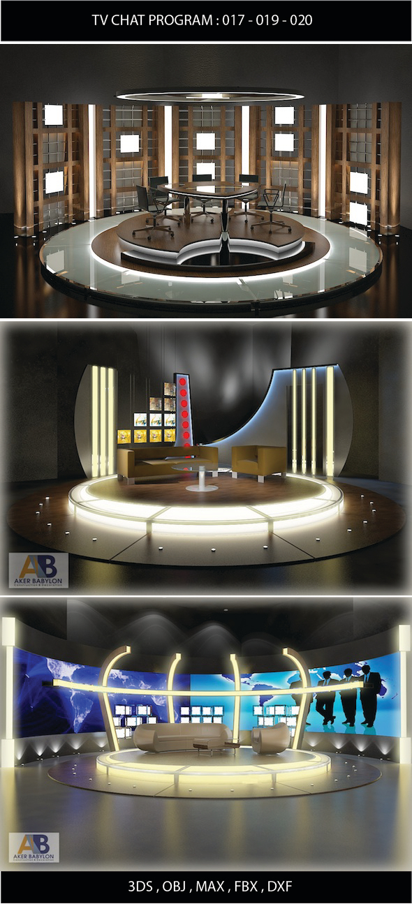 3DOcean Tv Chat Program Studio Set Design Bundle 017 01 11260243