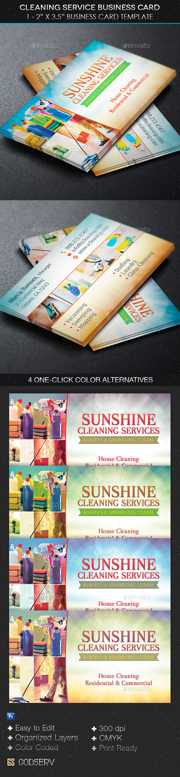 GraphicRiver Cleaning Service Business Card Template 11260252