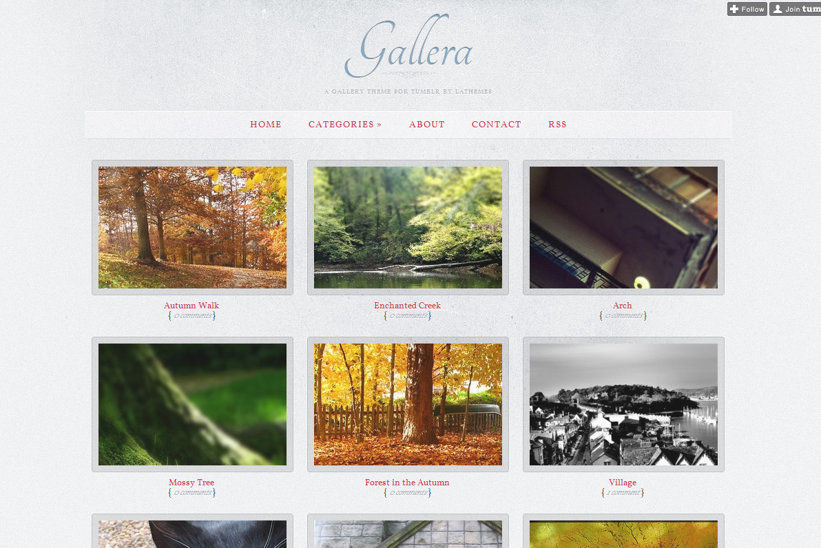 Gallera - Photo Gallery/Portfolio Theme for Tumblr - Home page