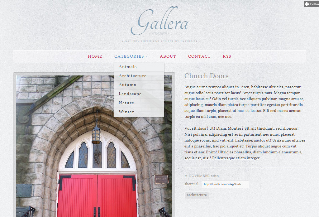 Gallera - Photo Gallery/Portfolio Theme for Tumblr - Dropdown menu with categories