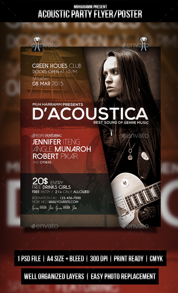 GraphicRiver Acoustic Party Flyer Poster 11260455